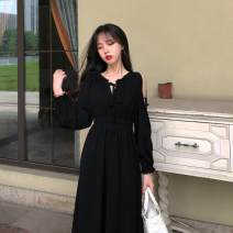 Dress Autumn 2020 Black, wine red M,L,XL,2XL longuette singleton  Long sleeves commute One word collar High waist Solid color Socket puff sleeve 18-24 years old Korean version 31% (inclusive) - 50% (inclusive) other other