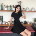Dress Summer 2020 Black, red L,XL,S,M Short skirt singleton  Short sleeve commute Crew neck other routine 18-24 years old Korean version