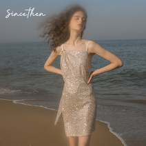 Dress Summer of 2019 In stock (the sling is light pink after revision) S,M,L Short skirt singleton  Sleeveless commute High waist Socket A-line skirt camisole 18-24 years old Type A since then Retro DQ190427 polyester fiber