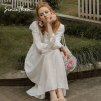 Dress Autumn 2020 goods in stock S,M,L longuette singleton  Long sleeves commute High waist Solid color A-line skirt Others 18-24 years old Type A since then Retro CQ200628 More than 95% cotton
