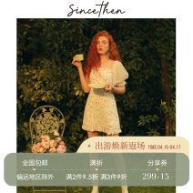 Dress Summer of 2019 Picture color (spot), take delivery within 7 days S,M,L Short skirt singleton  Short sleeve commute square neck High waist Decor puff sleeve 18-24 years old Type A since then Retro