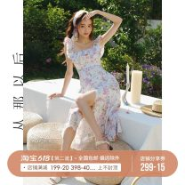 Dress High waist summer Type A Simplicity Summer 2021 longuette Sleeveless singleton  commute Design and color A-line skirt V-neck other 18-24 years old Condom 71% (inclusive) - 80% (inclusive) polyester fiber Other Chiffon CQ210424 since then S,M,L
