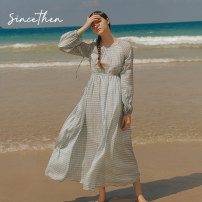 Dress Spring 2020 Picture color (in stock) S,M,L longuette singleton  Long sleeves commute High waist lattice other 18-24 years old Type A since then Retro 81% (inclusive) - 90% (inclusive) polyester fiber