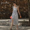 Dress Summer 2020 Picture color (in stock) S,M,L longuette singleton  Sleeveless commute square neck High waist Solid color camisole 18-24 years old Type A since then Retro More than 95% cotton