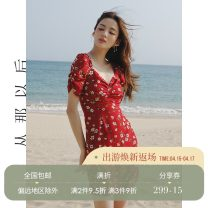 Dress Spring 2021 Picture color (in stock) S,M,L Short skirt singleton  Long sleeves commute V-neck High waist Decor zipper A-line skirt Others 18-24 years old Type A since then Retro DQ70301 More than 95% polyester fiber