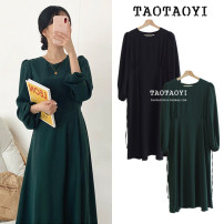 Dress Autumn 2020 Dark green, black S,M,L Mid length dress singleton  Long sleeves commute Crew neck High waist Solid color zipper A-line skirt puff sleeve Others 18-24 years old Type A Other / other Korean version Bowknot, lace up, stitching, bandage, zipper 71% (inclusive) - 80% (inclusive)