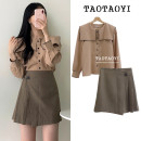 Fashion suit Autumn of 2019 S,M,L,XL Coffee skirt, white shirt, camel shirt, black skirt 18-25 years old Other / other 51% (inclusive) - 70% (inclusive) cotton