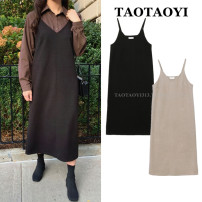Dress Winter 2020 Apricot, black S,M,L,XL Mid length dress singleton  Sleeveless commute V-neck Loose waist Solid color Socket A-line skirt routine camisole 18-24 years old Type A Korean version Stitching, strap 51% (inclusive) - 70% (inclusive) Wool