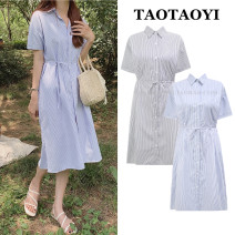 Dress Summer 2021 Blue, black S,M,L,XL Mid length dress singleton  Short sleeve Sweet Polo collar Loose waist stripe Single breasted other shirt sleeve Others 18-24 years old Type A Bow, button 51% (inclusive) - 70% (inclusive) cotton college