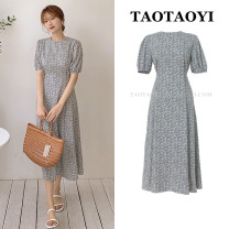Dress Summer 2021 Picture color S,M,L,XL longuette singleton  Short sleeve commute Crew neck High waist Broken flowers zipper A-line skirt puff sleeve Others 25-29 years old Type A Other / other Korean version Bowknot, lace up, stitching, bandage, zipper, printing 71% (inclusive) - 80% (inclusive)