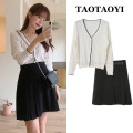 Fashion suit Autumn 2020 S. M, l, XL, one size fits all White T-shirt, black skirt 18-25 years old 31% (inclusive) - 50% (inclusive) cotton