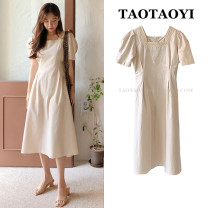 Dress Summer 2021 Apricot S,M,L,XL Mid length dress singleton  Short sleeve commute square neck High waist Solid color zipper A-line skirt puff sleeve Others 18-24 years old Type A Korean version Pleats, stitches, zippers 71% (inclusive) - 80% (inclusive) other hemp