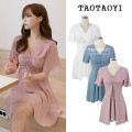 Dress Summer 2021 White, blue, pink S,M,L,XL Short skirt other Short sleeve Sweet V-neck High waist Solid color zipper A-line skirt Flying sleeve Others 18-24 years old Type A Other / other Bowknot, tuck, fold, splice, strap, zipper 51% (inclusive) - 70% (inclusive) Chiffon polyester fiber college