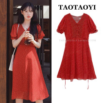 Dress Summer 2021 White, red S,M,L,XL Mid length dress singleton  Short sleeve commute V-neck High waist Broken flowers zipper A-line skirt puff sleeve 18-24 years old Type A Korean version Bowknot, lace up, stitching, bandage, button, zipper, printing 71% (inclusive) - 80% (inclusive) Chiffon