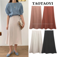 skirt Summer 2020 S,M,L,XL Mid length dress commute High waist A-line skirt Solid color Type A 18-24 years old 51% (inclusive) - 70% (inclusive) Zipper, stitching Korean version