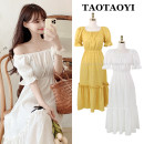 Dress Summer 2021 White, yellow S,M,L,XL Mid length dress singleton  Short sleeve commute One word collar Elastic waist Solid color Socket A-line skirt pagoda sleeve Others 18-24 years old Type A Korean version 71% (inclusive) - 80% (inclusive)