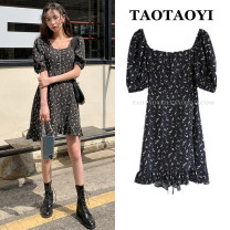 Dress Summer 2021 black S,M,L,XL Short skirt singleton  Short sleeve commute square neck High waist Broken flowers zipper Ruffle Skirt puff sleeve Others 18-24 years old Type A Korean version Bowknot, ruffle, Auricularia auricula, lace, stitching, bandage, zipper, printing Chiffon
