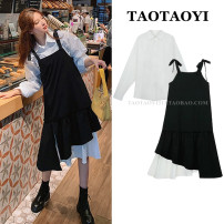 Dress Autumn 2020 Dress, shirt S,M,L,XL Mid length dress Two piece set Long sleeves commute Polo collar High waist Solid color Irregular skirt shirt sleeve camisole 18-24 years old Type A Korean version Bowknot, lace up, stitching, asymmetry, strap, swallow tail 51% (inclusive) - 70% (inclusive)