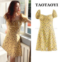 Dress Summer 2021 yellow S,M,L,XL Mid length dress singleton  Short sleeve Sweet One word collar High waist Broken flowers Socket Princess Dress Flying sleeve Others 18-24 years old Type A 51% (inclusive) - 70% (inclusive) solar system