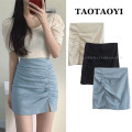 skirt Summer 2021 S,M,L,XL Blue, black, light apricot Short skirt commute High waist skirt Solid color Type A 18-24 years old 31% (inclusive) - 50% (inclusive) cotton Pleating, pleating, asymmetry, zipper, stitching Korean version