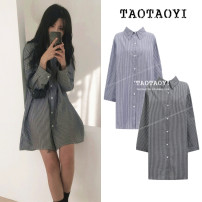 Dress Autumn 2020 Gray white bar, blue white bar S,M,L Mid length dress singleton  Long sleeves commute Polo collar Loose waist stripe Single breasted other shirt sleeve Others 18-24 years old Type H Other / other literature Bowknot, lace up, stitching, bandage, button, print cotton