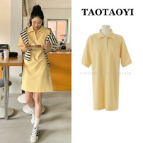Dress Summer 2021 yellow S,M,L,XL Middle-skirt singleton  Short sleeve commute Polo collar Loose waist Solid color Socket other routine Others 18-24 years old Type H Korean version Pocket, button 51% (inclusive) - 70% (inclusive) brocade cotton