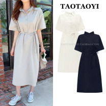 Dress Summer 2021 Apricot, Navy, khaki S,M,L,XL Mid length dress singleton  Short sleeve commute Polo collar Loose waist Solid color Socket A-line skirt shirt sleeve Others 18-24 years old Type A Korean version Bow, tie, tie, button 51% (inclusive) - 70% (inclusive) cotton