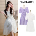 Dress Summer 2021 White, violet S,M,L,XL Mid length dress singleton  Short sleeve Sweet V-neck Elastic waist Solid color Socket A-line skirt puff sleeve Others 18-24 years old Type A Bowknot, tuck, fold, Auricularia auricula, lace, stitching, bandage 51% (inclusive) - 70% (inclusive) polyester fiber