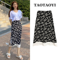 skirt Summer 2021 S,M,L,XL black Mid length dress commute High waist A-line skirt Broken flowers Type A 18-24 years old 81% (inclusive) - 90% (inclusive) Chiffon Zipper, swallow tail, stitching, printing Korean version