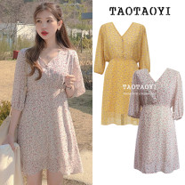 Dress Autumn 2020 Violet, yellow S,M,L,XL Mid length dress singleton  elbow sleeve Sweet V-neck High waist Broken flowers Socket A-line skirt bishop sleeve Others 18-24 years old Type A Other / other Bowknot, lace up, stitching, bandage, button, print 51% (inclusive) - 70% (inclusive) Chiffon college