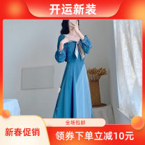 Dress Autumn 2020 blue XS 80 ~ 90 kg, s 90 ~ 100 kg, m 100 ~ 110 kg, l 110 ~ 130 kg longuette singleton  Long sleeves commute square neck High waist Solid color Socket Big swing routine Others 25-29 years old Type A Other Retro Bowknot, lace, stitching, zipper, resin fixation KSC20010 More than 95%