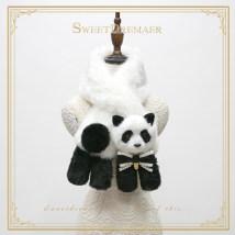 Scarf / silk scarf / Shawl Imitation fur 110cm long / detachable panda bow