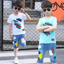suit Other / other The color pen boys' suit is white, and the color pen boys' suit is blue 120cm,130cm,140cm,150cm,160cm,110cm male summer Korean version Short sleeve + pants 2 pieces Thin money There are models in the real shooting Socket nothing Cartoon animation cotton children Expression of love