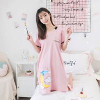 Nightdress Other / other 870087118744 pink, 8744 grey, 60886022 dark blue, 6022 grey, 6022 pink, 5011 pink, 6011 light blue, 6011 pink, 6044 pink, 6066 grey, 6066 pink, 6066 purple, 6077 pink, 6088 pink, 6099 Pink 160 (m), 165 (L), 170 (XL), 175 (XXL), 3XL, 4XL, 5XL Cartoon Short sleeve pajamas youth