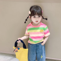 T-shirt Pink green bar, blue orange bar Young rice sprouts 80cm,90cm,100cm,110cm,120cm,130cm female summer Crew neck Korean version There are models in the real shooting nothing cotton 12 months, 18 months, 2 years old, 3 years old, 4 years old, 5 years old, 6 years old