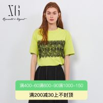 T-shirt Yellow green 34/155/S 36/160/M 38/165/L 40/170/XL Spring 2021 Short sleeve Crew neck Straight cylinder Regular routine commute cotton 51% (inclusive) - 70% (inclusive) 30-34 years old Retro originality XG / snow song Printed lace Same model in shopping mall (sold online and offline)