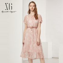 Dress Summer 2021 Pink 32/150/XS 34/155/S 36/160/M 38/165/L 40/170/XL longuette Fake two pieces Short sleeve commute other High waist Solid color Socket A-line skirt routine 30-34 years old Type X XG / snow song lady 51% (inclusive) - 70% (inclusive) Lace nylon