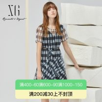 Dress Summer 2021 Check pattern 32/150/XS 34/155/S 36/160/M 38/165/L 40/170/XL Mid length dress Fake two pieces Short sleeve commute Crew neck High waist Socket Ruffle Skirt puff sleeve 30-34 years old Type X XG / snow song lady More than 95% other polyester fiber Polyester 100%