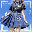 skirt Autumn 2020 XS,S,M,L,XL Short skirt Sweet High waist A-line skirt lattice Type A 18-24 years old More than 95% other polyester fiber Pleated, zipper solar system
