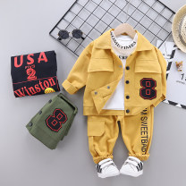 suit Green, yellow, black 73cm,80cm,90cm,100cm,110cm male spring and autumn Long sleeve + pants 3 pieces routine No model Single breasted nothing cotton children Expression of love Class A 6 months, 12 months, 9 months, 18 months, 2 years, 3 years, 4 years