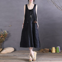 Dress Spring 2021 Army green , black , Beige , Grey two piece set Average size Mid length dress singleton  Sleeveless commute V-neck Loose waist Solid color Socket A-line skirt Type A The spare time literature Open line decoration More than 95% cotton