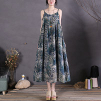 Dress Spring 2021 Khaki, starry blue, colorful flowers, green flowers Average size Mid length dress singleton  Sleeveless commute Crew neck Loose waist Decor Socket A-line skirt camisole Type A The spare time literature printing 51% (inclusive) - 70% (inclusive) cotton
