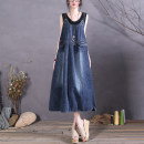 Dress Spring 2021 Denim blue Average size Mid length dress singleton  Sleeveless commute Crew neck Loose waist Solid color Socket A-line skirt Type A The spare time literature pocket More than 95% cotton