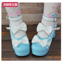 Low top shoes Angelic imprint Round head Thick heel PU Shallow mouth High heel (5-8cm) PU Spring 2016 Lolita Solid color daily