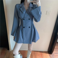 Dress Autumn 2020 Apricot, ink blue S,M,L Miniskirt singleton  Long sleeves commute tailored collar High waist double-breasted pagoda sleeve 18-24 years old Type H Korean version