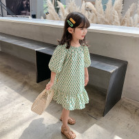 Dress green female Class two 100cm (recommended height is about 100), 110cm (recommended height is 100-110), 120cm (recommended height is 110-120), 130cm (recommended height is 120-130), 140cm (recommended height is 130-140) Other 100% summer Korean version Short sleeve Rhombic lattice other other
