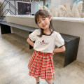 suit Class two white female summer Korean version Short sleeve + skirt 2 pieces routine There are models in the real shooting Socket nothing letter cotton children Expression of love 212MYTZ728 Class B Other 100% Two, three, four, five, six, seven, eight, nine Chinese Mainland