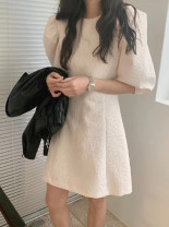 Dress Summer 2021 Off white, black S,M,L,XL Short skirt Two piece set commute Crew neck High waist Solid color Socket other puff sleeve 18-24 years old Korean version 51% (inclusive) - 70% (inclusive) other other
