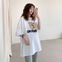 T-shirt Crew neck Average size Other / other 5 / 7 sleeves spring and autumn Korean version Medium length Cartoon animation routine Pure cotton (95% and above)