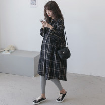 Shirt / Chiffon Long sleeves Nuochu's favorite Average size lattice Lapel Korean version spring and autumn flax